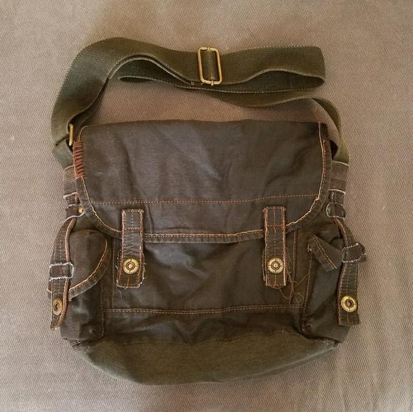 06930a9011 Denim and Vegan Leather Messenger Bag. M 5ac6568336b9dea7594bdc51